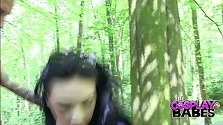 Alluring raven haired sweetie gets banged hard in the forest