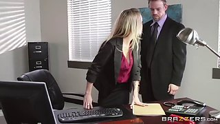 This hot blonde secretary takes care of the entire office