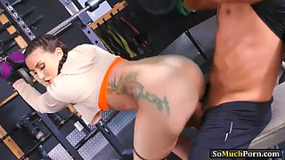slutty babe mandy muse pounded in her bubble butt in the gym