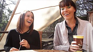 Lesbian brunettes chat with their boss in hd porn video