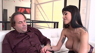 Naughty chick Jayden Lee is happy to ride an erected tool