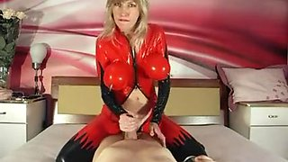 Blowing and fucking in a new latex catsuit