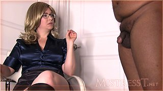 mistress help black guy to suck white cock