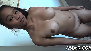 Luscious asian beauty gets her juicy cookie drilled rough
