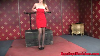 Restrained beauty punished by sadistic master