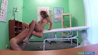 Randy doctor abuses his sexy brunette with big tits