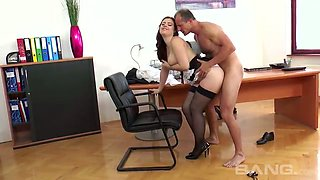 Curvy black haired secretary Lexie Candy fucks with horny boss in the office