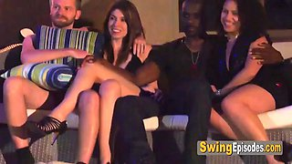 Unchanging couple decides to have a blast during swingers weekend
