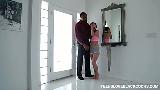 Cute teen Mila Jade tries to cope with massive aggressive black dick