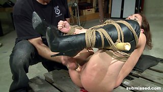 Brunette in bondage screams and moans as she gets abused hardcore