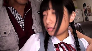 Squirting Japanese schoolgirl loves toys in ass and pussy