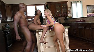 Chocolate girl gladly shares that black sausage with her white friend