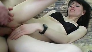 Skinny brunette amateur woman blows dick and fucks on the couch
