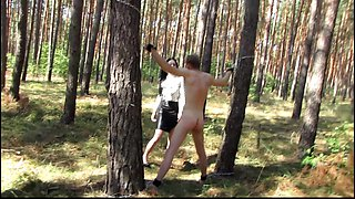 Outdoor whipping in forest by hot german mistress