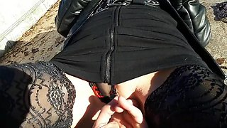 Flashing fingering and blowjob