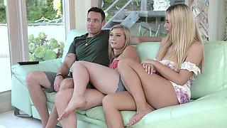Blonde MILF seducing a stepdaughter and her boyfriend