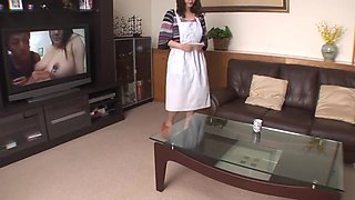 Maid gets horny while cleaning and fucks the boss