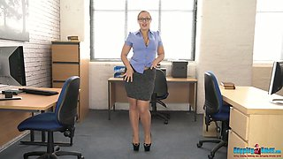 Slutty plump chick Beth get snaked and dances in the office