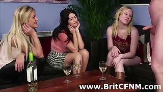Naughty British girls check out naked CFNM guy