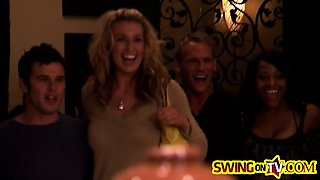 Young swingers having fun together