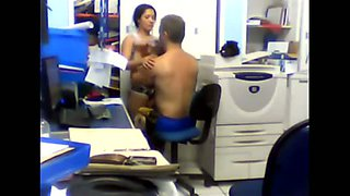 Very hesitant secretary with her boss in the office