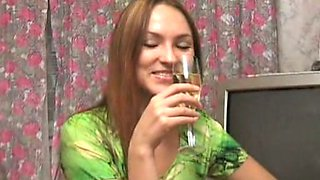 Drunk girlie Natalie is taking off her clothes for masturbation
