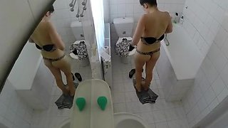 Sexy chick spied in bathroom taking shower