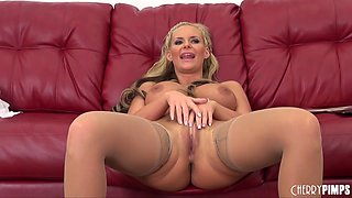 Phoenix Marie sucks and fucks in a pair of tan stockings