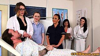 CFNM milf doctor teaches nurse cocksucking