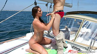 Expensive yacht is a perfect place for Destiny Dixon to ride the cock