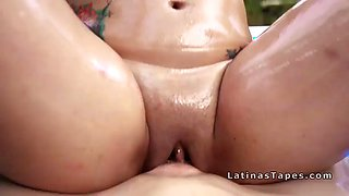 oiled busty latina bangs big cock
