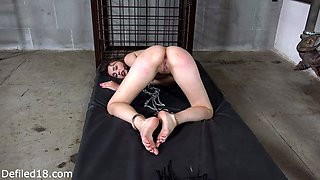 Caged sex slave gets punished hard in her asshole