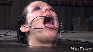Woman with a ring gag enjoys many great kinky games