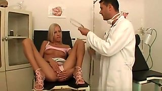 Delightful blonde invites the hung doctor to take care of her desires