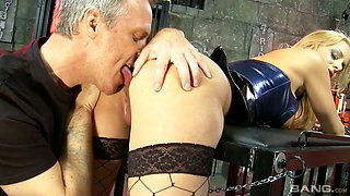 Sexy mistress in latex Chloe Conrad punishes one kinky dude before crazy sex