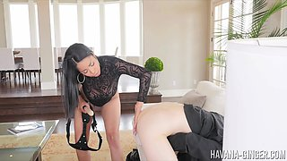 Seductress Havana Ginger fucking her fella's ass with a strap-on