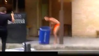 Raging drunk woman naked at the club.