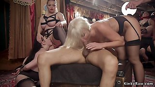 Slaves at orgy made lick their mistress