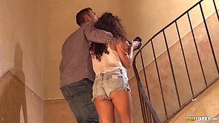 Slut with beautiful curly hair fucked by a horny chef