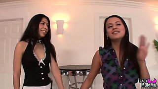 Teen and mom seduce maid into threesome