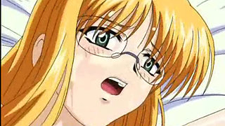 Hentai blonde in glasses taking two big dicks