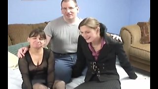 Dad  mom  and girl enjoy being naked