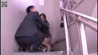 Boss fucks the secretary on the stairs