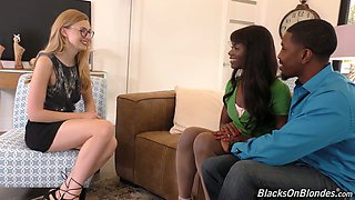 Horny married black couple invites maid Alexa Grace for awesome threesome