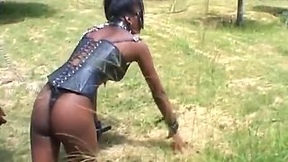 African girl gets walked like a dog by her black master