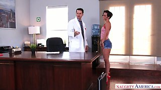 Leggy bitch in shorts Jada Stevens gets her pussy fucked on the doctor's table