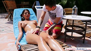 Sexy tanned babe Sophia Leone is having crazy sex with nerd neighbor