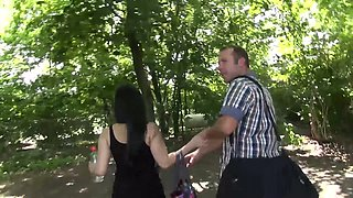 Brunette girl Ashley hooks up with her boyfriend right in the park