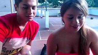 Fresh Mexican webcam couple fucking on the rooftop
