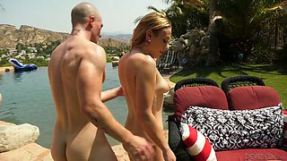 Oiled up tanned chick Kasey Miller is fucked by horny bald headed fellow